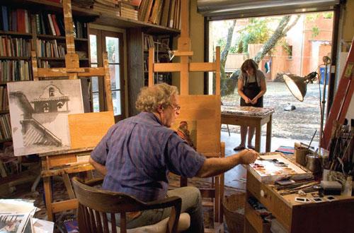 Dennis and Anne Ziemienski in their studio