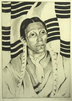 "Gene Kloss (1903-1996), Indian Singer, Etching, 1965, 13"" x 9"""