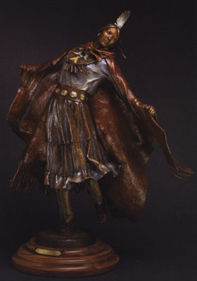 "Susan Kliewer, Navajo Powwow Dancer, Bronze, 23"" x 23"" x 12"""