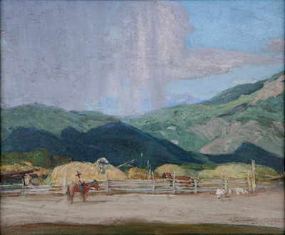 "Oscar E. Berninghaus, Pitching Hay, Oil on Board, c. 1930, 10"" x 12"""