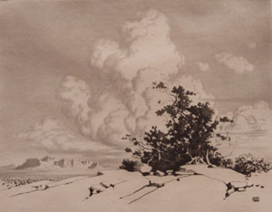 "George E. Burr, Summer Clouds - Apache Trail, Arizona, Etching, 8"" x 10"""