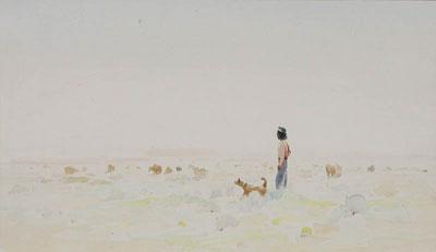"Gerard Curtis Delano, Grazing Sheep Navajo in the Lonesome Land, Watercolor, c. 1958, 9"" x 15"""