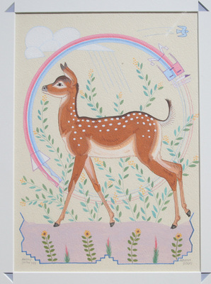 "Harrison Begay, Deer and Rainbow God, Gouache, 1980, 13"" x 10"