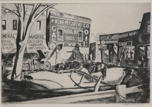"Howard Cook, Taos Plaza, Etching, c. 1926-27, 8"" x 12 """