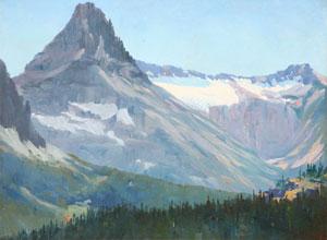 "Louis Akin, Northwest Mountain, British Columbia, 1909, Oil on Panel, 14"" x 18"""