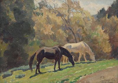 """Maynard Dixon, Horses Grazing, El Cajon, San Diego County, CA, March 1938, Oil on Canvas Board, 10"""" x 14"""""""