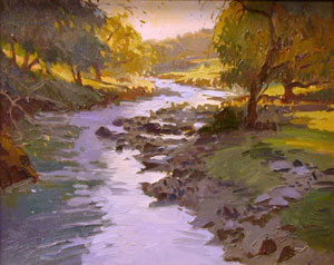 "Ray Roberts, Curtis Creek, Oil on Panel, 16"" x 20"""