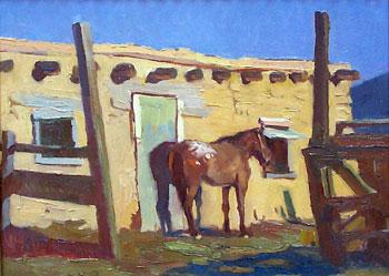 "Ray Roberts, Joe's Horse, Oil on Board, 12"" x 16"""