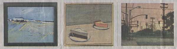 """From left, Gregory Kondos' """"Morning"""" is a 1961 oil. Wayne Thiebaud sold his 1961 classic, """"Two Pie,"""" for $100 to the Sacramento City College art department. Fred Dalkey portrays """"34th and R Streets"""" in his 1990 oil."""