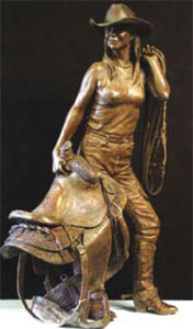"Deborah Copenhaver-Fellows, I Saddle My Own Horse, Bronze, 34"" x 20"" x 14.5"""