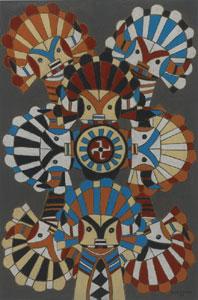 "Emil Bisttram, Kachinas, Mixed Media, Oil and Gouache on Paper, Circa 1940, 18"" x 12"""