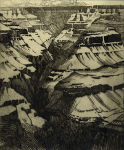 "George E. Burr, Grand Canyon, Etching, 12"" x 10"""