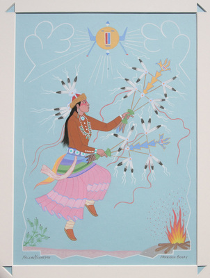 "Harrison Begay, Native Dancer #1, Gouache, 1980, 13"" x 10"""