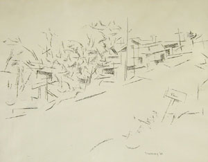 "Andrew Dasburg, Roadside, Pen and Ink, Circa 1960, 18"" x 24"""