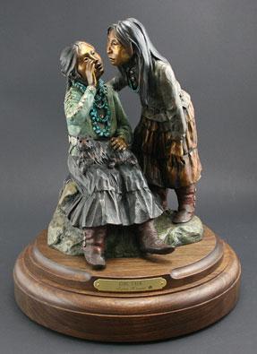 "Susan Kliewer, Girl Talk, Bronze Edition of 45, 11"" x 11"" x 13"""