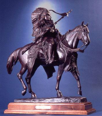 "Veryl Goodnight, American Warrior, Bronze Edition of 35, 31"" x 28"" x 18"""
