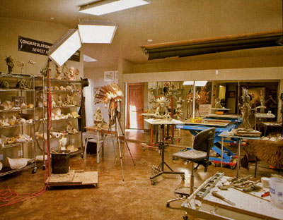 Coleman's working studio, with several clay prototypes and Glory Days, far right.