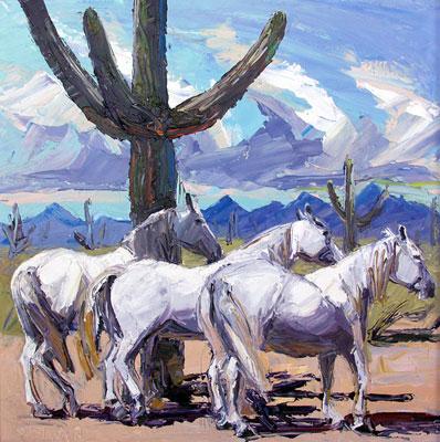 "Louisa McElwain, Poca Sombra, Pascua, Oil on Canvas, 30"" x 30"""