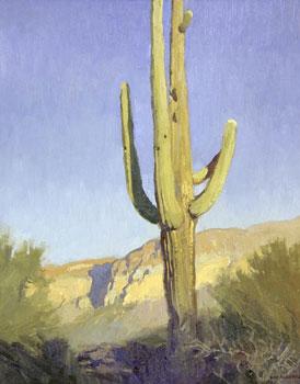 """Ray Roberts, Saguaro, Oil on Board, 20"""" x 16"""""""