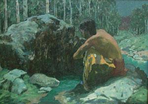"""Eanger Irving Couse, Moonlight Spring, Oil on Board, 9"""" x 12"""""""