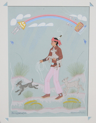 "Harrison Begay, Rainbow God, Gouache, 1980, 13"" x 10"""