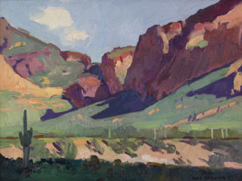 "Ray Roberts, Goldfield Cliffs, Oil on Panel, 12"" x 16"""