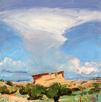 "Louisa McElwain, Hoodoos and High Clouds, Oil on Canvas, 30"" x 30"""