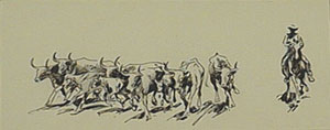 """Edward Borein, The Roundup, Pen and Ink, 3"""" x 7"""""""