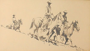 "Edward Borein, Three Riders, Ink on Paper, 6"" x 10"""