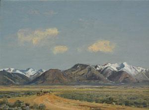 "Oscar Berninghaus, Taos Mountain Riders, Oil on Panel, Circa 1930, 12"" x 16"""