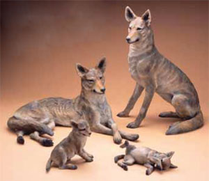 "Star Liana York, Coyote Family, Back and left to right: Male 18"" x 30"" x 17"", Female 28"" x 21"" x 17""  Front Left to right: Pup 11"" x 10.5"" x 6.5"", Pup 5.5"" x 12"" x 8"""