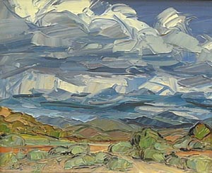 Louisa McElwain, Chamisas & Clouds, Oil on Canvas, 16