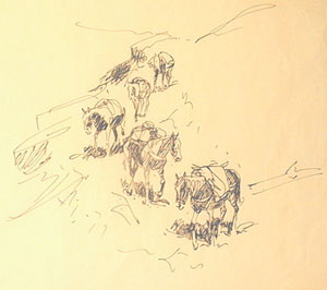 """Edward Borein, Trail of Horses, Ink on Paper, 9"""" x 12"""""""