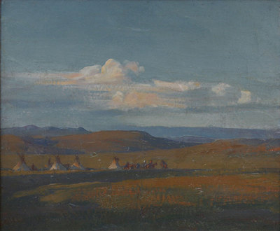 "Maynard Dixon, Sketch for Composition, Encampment in the Open West, Circa 1907, Oil on Board, 8"" x 9.5"""