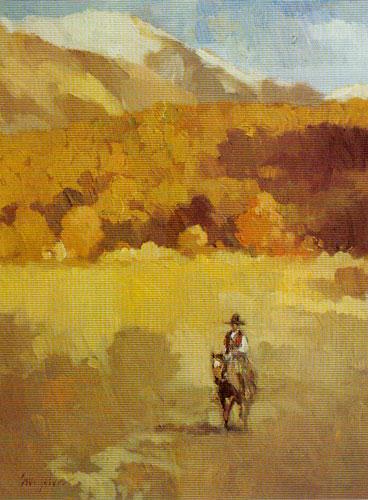 "Francis Livingston, Lone Rider, oil, 12""x9"""