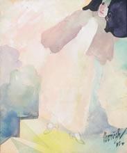 "Maynard Dixon (1875-1946) Nvorczk  Top: Woman on Stairs, Gouache, c. 1917, 6"" x 5""  Bottom: Torso Chorus, Oil on Canvas, 13.5"" x 10.25"""