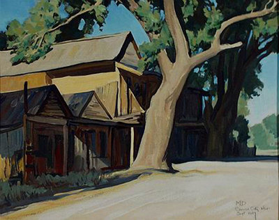 "Maynard Dixon, Old Chinatown, Carson City, Nevada, September 1937, Oil on Canvas Board, 16"" x 20"""