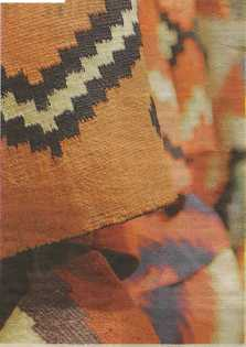 These Navajo blankets are hand-woven from wool.