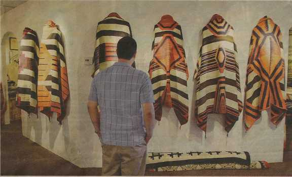 Visitor viewing blankets