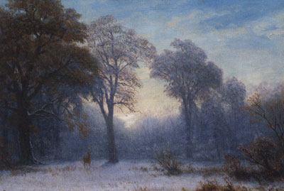 "Albert Bierstadt (1830-1902) Winter Dawn, c. 1890, Oil on Paper Mounted on Linen, 13.5"" x 19.25""  Courtesy JKM Collection, National Museum of Art"