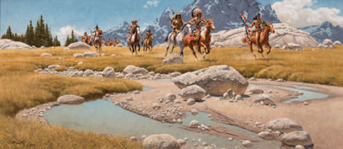 """Frank McCarthy (1924-2002), From the Meadows of the Beartooth, 1991, oil on canvas, 18""""x40"""""""