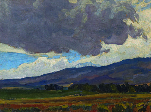 "Maynard Dixon (1875-1946), Reno Landscape, 1919, oil on board, 10""x14"""