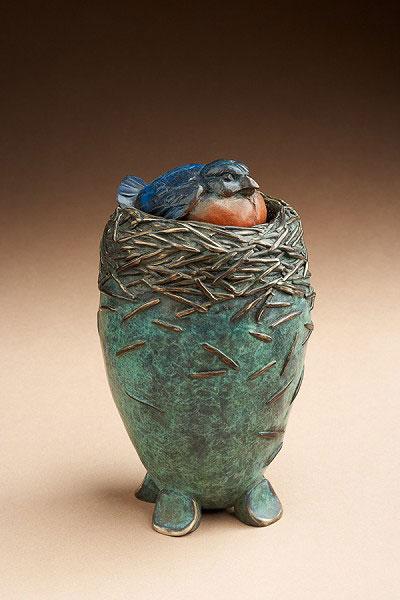 "Star Liana York, Bluebird Vessel, Bronze, 7"" x 4"" x 4"""