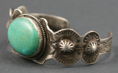 Navajo Fred Harvey Turquoise and Silver Bracelet c. 1930