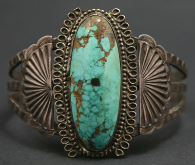 Navajo Turquoise and Silver Bracelet   c. 1930   Size 7.5
