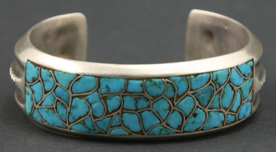 Zuni Turquoise Channel Inlay and Silver Bracelet   c. 1940   Size 6.25