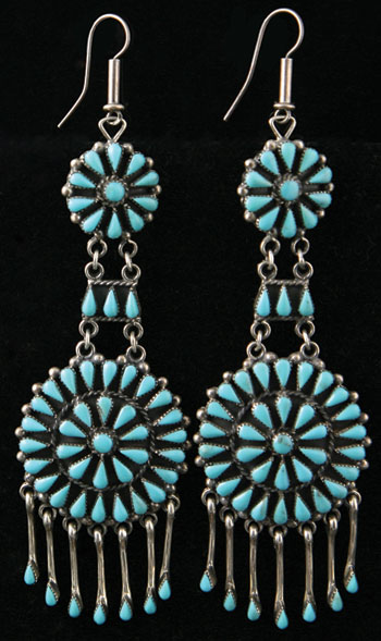 Zuni Turquoise Petit Point and Silver Earrings