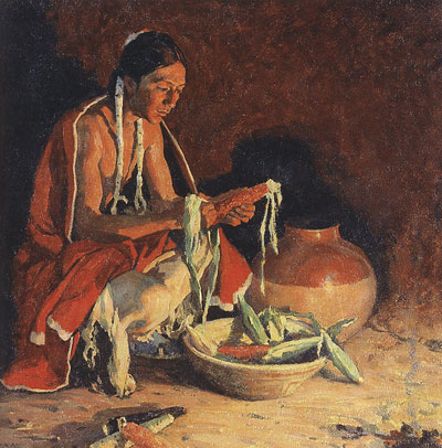 "E. I. Couse (1866-1936) Indian Fireside, oil on canvas, 24"" x 30""  Courtesy the Toas Art Museum and Fechin House, Taos, NM"