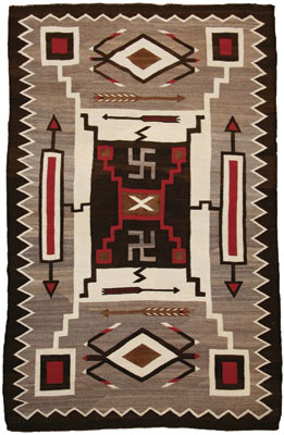 Navajo Crystal Storm Pattern rug with Whirling Logs