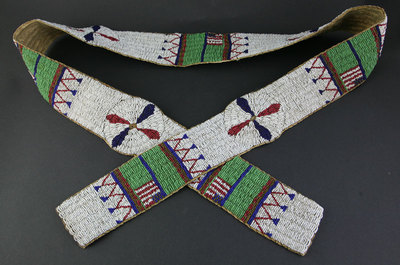 """Sioux Beaded Blanket Strip with American Flag Design, circa 1890, 63"""" x 3.25"""""""